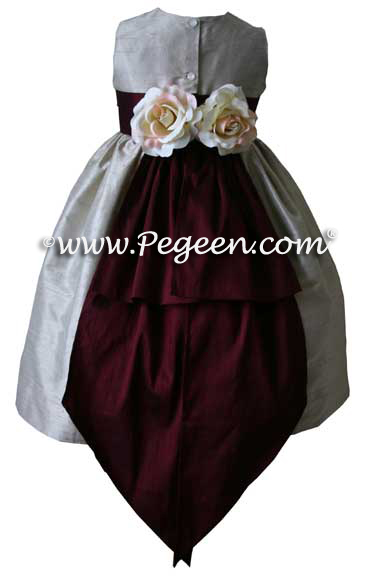Burgundy and Toffee Custom Flower Girl Dresses Style 383
