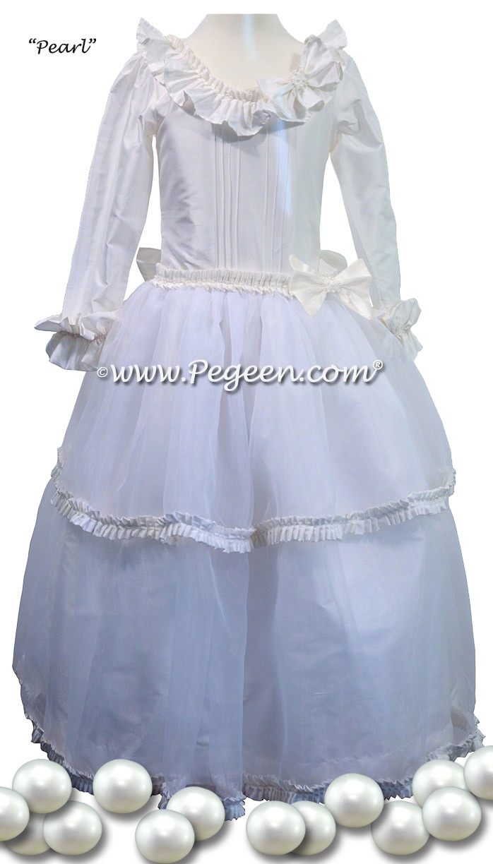 Pearl Fairy Flower Girl or Nutcracker Dress with Swarovski Crystals with of tulle | Pegeen