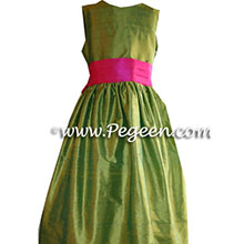 Lime green and hot pink flower girl dresses