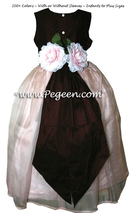 Petal Pink Flower Girl Dresses Style 313 in chocolate and pink silk and organza
