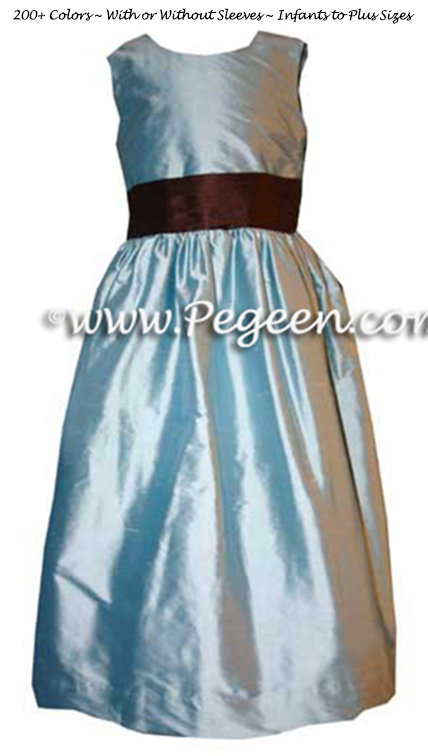 Chocolate Brown and Caribbean Blue Flower Girl Dresses Style 398