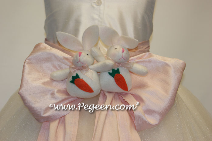 Custom girl's Easter dress bunny trim.
