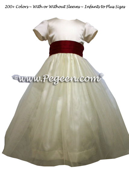 Flower Girl Dress in Cranberry and Ivory Satin Bodice with Tulle - Style 356
