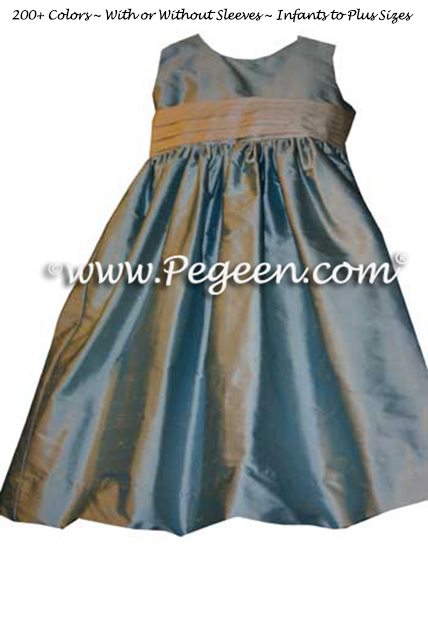 Caribbean and Foam Flower Girl Dresses to match Jim Hjelm bridesmaids dresses