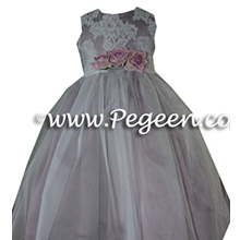 buttercreme and blush pink tulle junior bridesmaids dresses