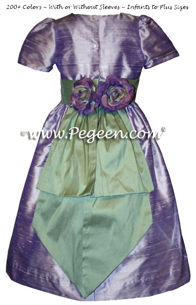 Flower girl dresses in Lilac and Celadon Green Style 383