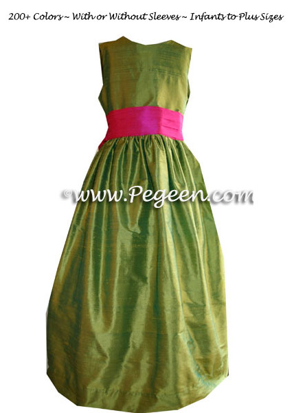 Lime green and shocking hot pink custom flower girl dresses