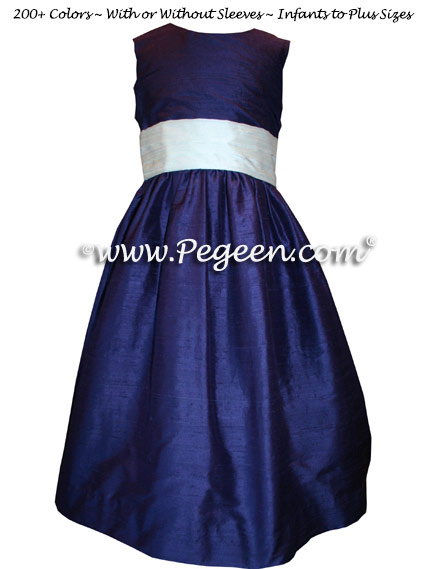 Jr Bridesmaids Dress in Grape and Antique White - Style 398 | Pegeen