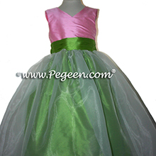 Flower girl dresses in apple green and bubble gum pink