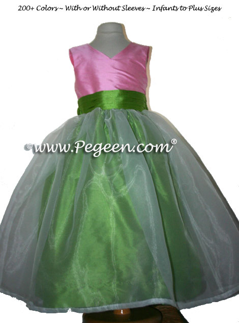 APPLE GREEN AND BUBBLE GUM PINK FLOWER GIRL DRESSES
