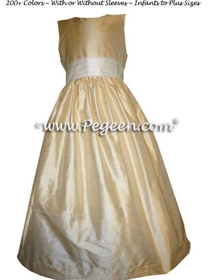 Light Pale Yellow Flower Girl Dresses Style 398