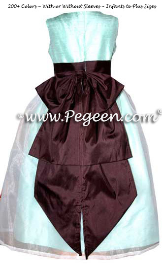 Aqua blue and chocolate brown Flower Girl Dresses