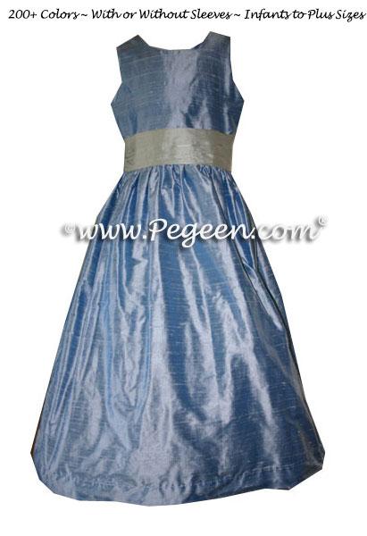 Denim (light blue) and foam (green) Custom Flower Girl Dresses Style 398