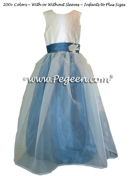 Hydrangea Blue, New Ivory with Ivory Organza Flower Girl Dresses Style 359