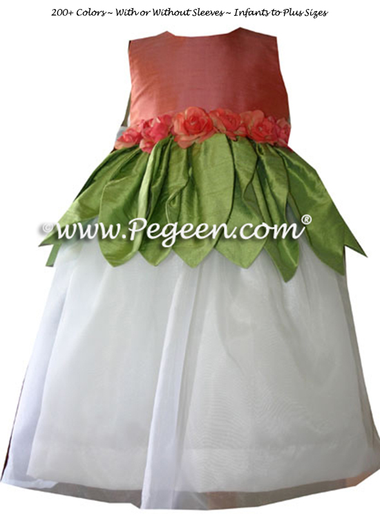 Green and coral fairy flower girl dress style 321