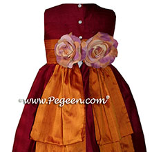 cranberry and pumpkin silk flower girl dresses