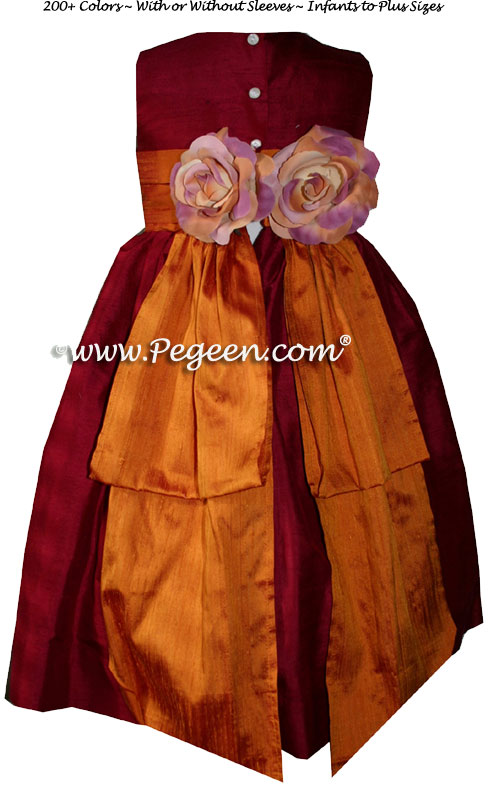 Custom Flower Girl Dresses in Cranberry with Pumpkin Bustle Style 383