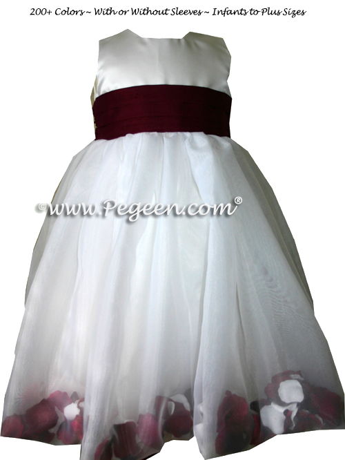 FLOWER GIRL DRESSES ON STYLE 326 with a set of petals in white and burgundy