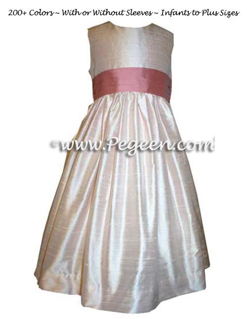 Ballet Pink and Woodrose Custom Silk Flower Girl Dresses