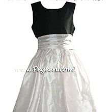 peony pink and black flower girl dresses