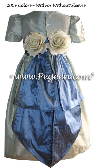 French blue and Foam green Flower Girl Dresses