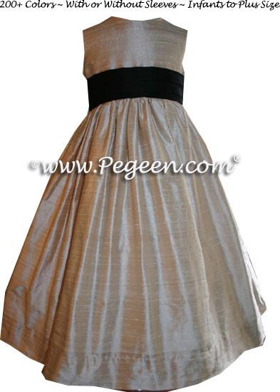 Black and Toffee Custom Flower Girl Dresses