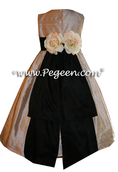 Black and Toffee Custom Flower Girl Dresses Style 383