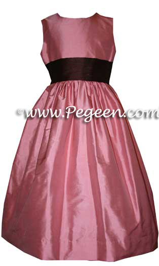 WOOD ROSE PINK CUSTOM FLOWER GIRL DRESSES