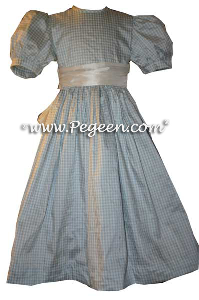 Blue Gingham silk dress for little girl's Wizard of Oz Dorothy party