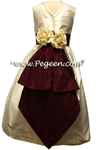 New Ivory and Eggplant Flower Girl Dresses Style 383
