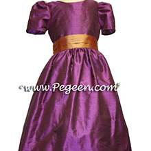 purple and raspberry pinks silk flower girl dresses
