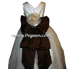 ivory and chocolate black silk and organza Flower Girl Dresses