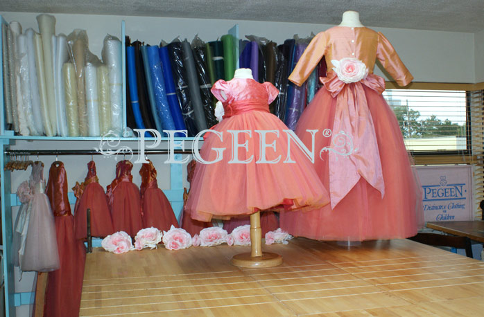 Pegeen's Coral Rose, icing and orange shades of silk and Tulle Degas Style FLOWER GIRL DRESSES with 10 layers of tulle
