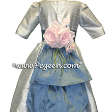 azuline blue and platinum silk flower girl dresses