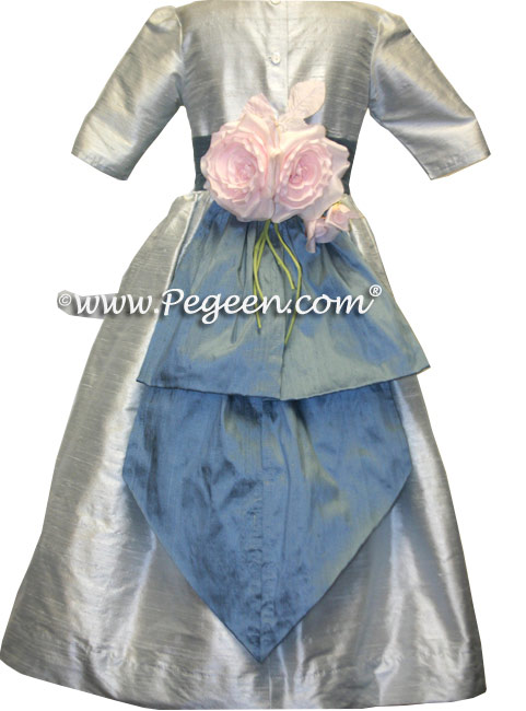 French blue and platinum silk custom flower girl dresses with 3/4 sleeve