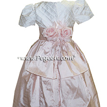 PINK SILK FLOWER GIRL DRESSES