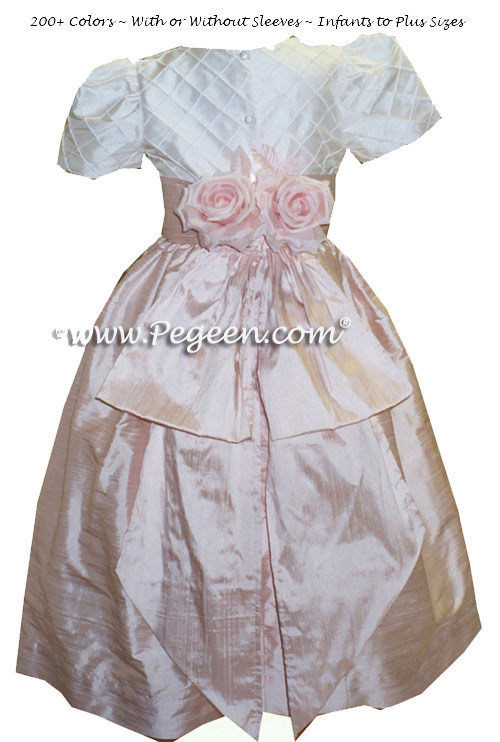 Flower Girl Dress in Blush Pink and White Silk Trellis Style 357