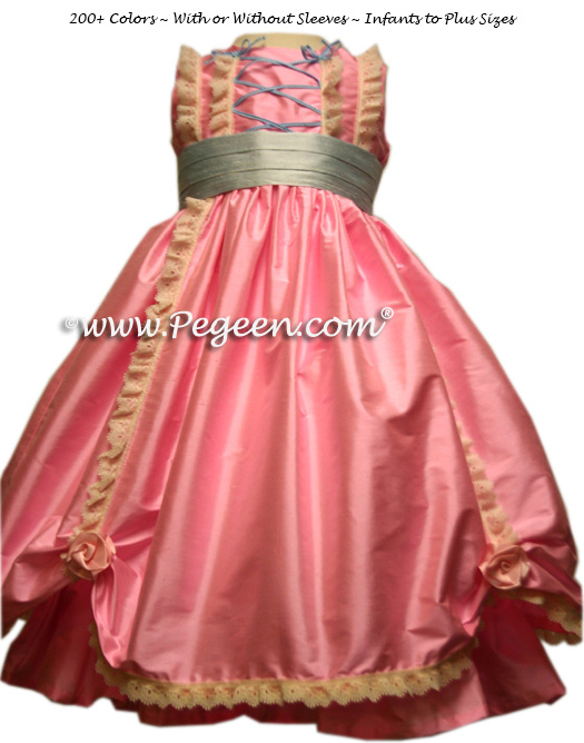 BUBBLEGUM PINK SILK DRESS FOR FLOWER GIRL Style 397