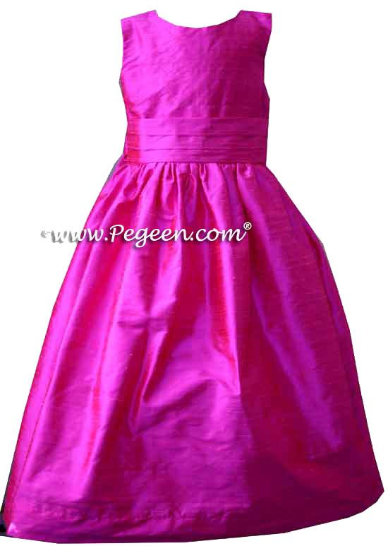 Solid Boing (hot pink) silk custom flower girl dresses - Style 318