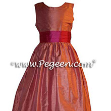 FLAME SALMON AND PINK JR BRIDESMAIDS DRESSES