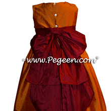 Tangerine and cranberry infant flower girl dresses