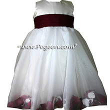 White and burgundy silk and organza flower girl dress