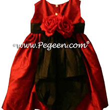 CUSTOM CLARET RED FLOWER GIRL DRESSES