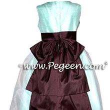 chocolate brown and aqua flower girl dresses