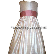 petal pink and wood rose flower girl dresses