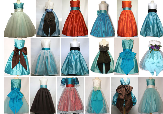 Tiffany or aqua flower girl dresses