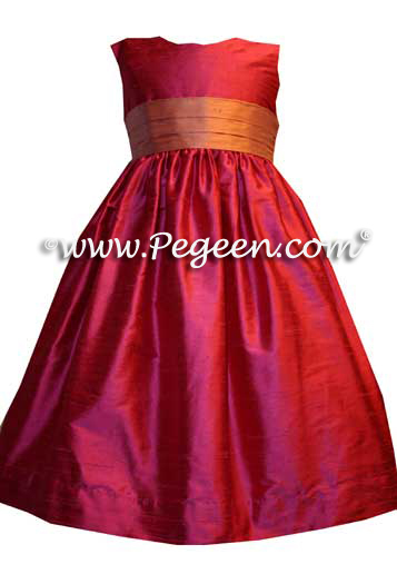 Salmon Flame and Lipstick Pink Custom Flower Girl Dresses