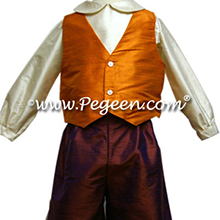 Boys Ring Bearer Suit in Raisin and Bisque