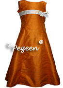 Silk Sheath Junior Bridesmaid Dress 305 shown in Tangerine/Antique White New Ivory/Sage