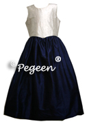 2pc Look silk Junior Bridesmaids Dress shown in Navy (l) and Ivory (r) 316